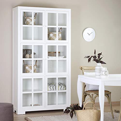 Tribeca Vitrine Portes Verre - Bois - 110x42x205 cm - Couleur Blanc Winter