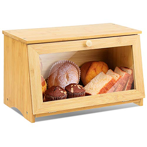 Wood Bread Box for Kitchen Bamboo Large Capacity Food Storage Bin