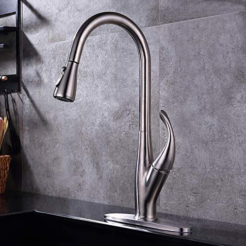 GAVAER Kitchen Faucet, Lead Free Stainless Steel Single Handle Pull Down Sprayer Brushed Nickel Faucet, Kitchen Sink Faucet with Deck Plate.