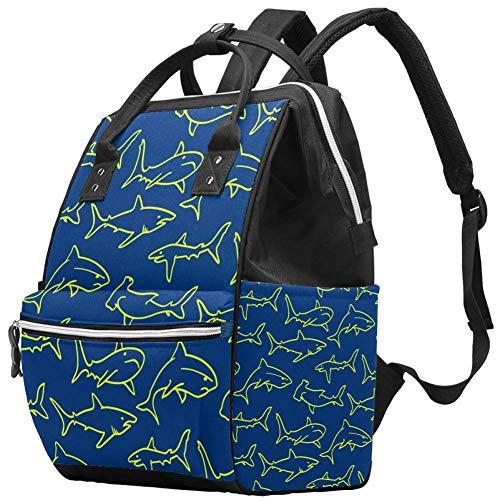 Mumien-Wickeltaschen-Rucksack, Zeichnung, Haifisch, blau, multifunktional, wasserdicht, Reise-Rucksack für Babypflege