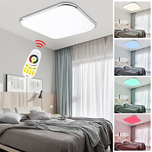 Hengda® LED Deckenleuchte RGB Mit Fernbedienung Lichtfarbe und Helligkeit einstellbar Moderne Esszimmer Deckenbeleuchtung Badezimmer geeignet [Energieklasse A++] (24W RGB)