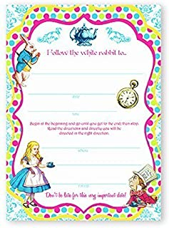 POP parties Alice in Wonderland Brights Large Invitations - 10 Invitations + 10 Envelopes
