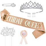 WILLBOND 5 Pieces Birthday Accessories, Include Birthday Queen Sash, Tiara, Tinplate Badge Pin, Brooch Clip Pin and Happy Birthday Cupcake Topper for Women Birthday Party Favors