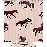 Laire Daniel - Cortina de ducha impermeable (70 x 179 cm), diseño de unicornios