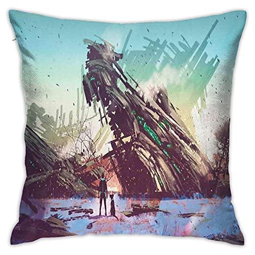 qidong Throw Pillow Fundas de cojín DecorativeMan y Perro Mirando a Crashed Seship Imagination Futuristic Ilustración Pillow Case Fundas de Cojín para Hogar Sofá Dormitorio 18 '18