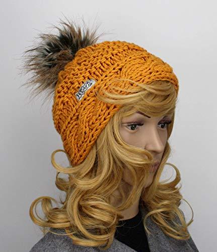 Bommel-Mütze Damen hand-gestrickt Strickmütze mit Kunst-fell-bommel