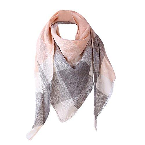 YEBIRAL Damen Schal Kariert übergroßer Frauen Tücher Halstuch Dreieck Schal(Rosa)