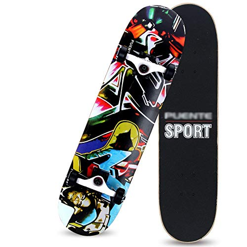 QJWM 31Pulgadas Monopatín Skateboards Patinete Retro Longboard with Maple Deck Crucero Penny Completo Cruiser para Niños Jóvenes Adultos Beginners, 20 Colores