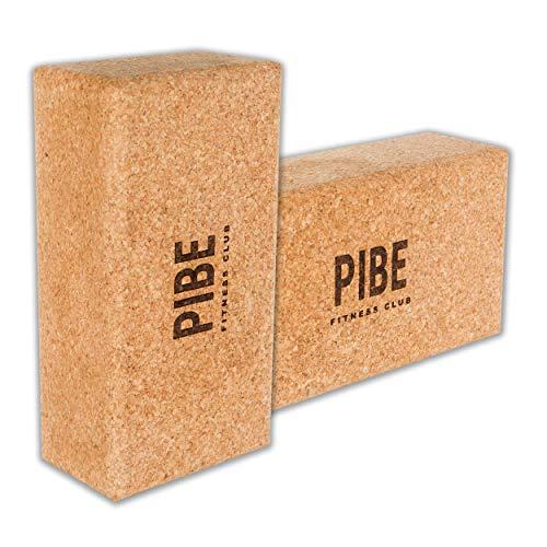 Pibe Bloque Yoga Corcho Natural Pack 2 Piezas Ecológico de Alta Densidad 22,5 x 12 x 7,5 Centímetros Ladrillo Yoga Block Cork para Pilates y Ejercicios de Yoga. Corcho Natural de Portugal