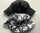 Sombreros gorra de béisbol Estilo étnico en ambos lados con sombrero de lavabo con estampado de árbol de coco sombrero de pescador de playa para viajes al aire libre-negro