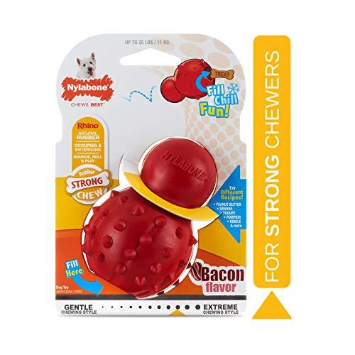Nylabone Juguete masticable para Rellenar Fabricado en Goma Natural, Sabor a beicon, Apto para Perros pequeños (hasta 11 kg), S, Red 1 Unidad 150 g