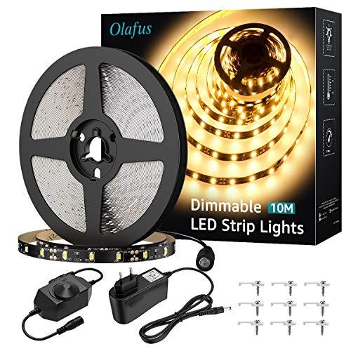 Olafus 10M LED Strip Dimmbar, LED Streifen 600 LEDs Lichtband Stripes 3000K Warmweiß, Selbstklebend 2835 Hintergrundbeleuchtung mit 12V Netzteil, LED Lichtstreifen für Küche, Schrank, Bett, Party