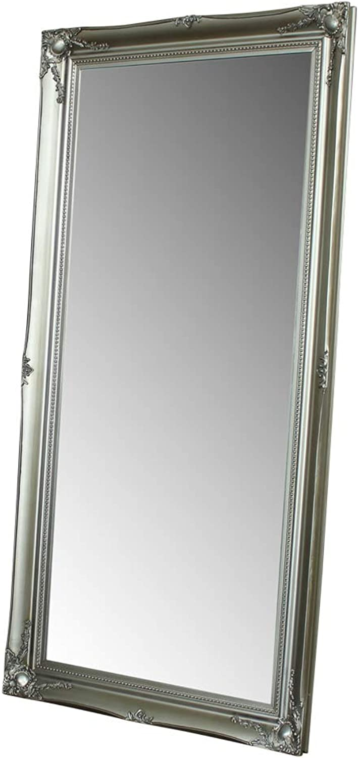 Melody Maison Large Silver Ornate Wall Floor Mirror 158cm x 78cm