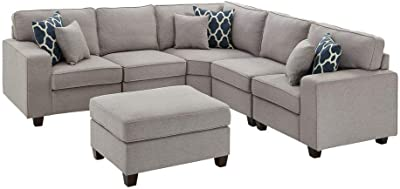 Amazon.com: Poundex B075JMPDDQ Sofas, Grey: Kitchen & Dining