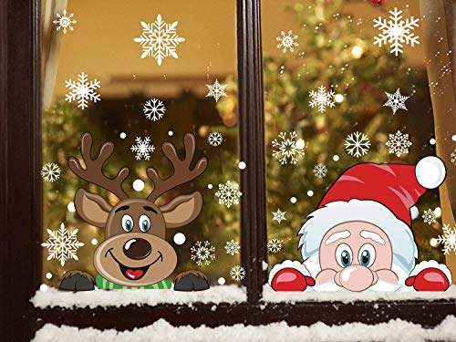300 PCS 8 Sheet Christmas Snowflake Window Cling Stickers for Glass, Xmas...