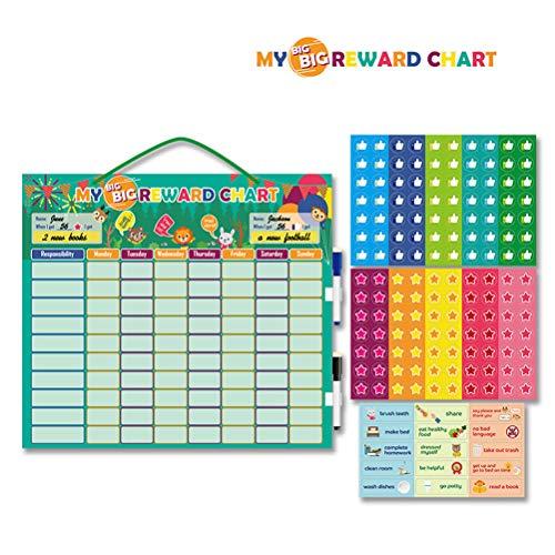 Yekku Magnetische Belohnungstafel, Belohnungstafel, magnetische Belohnungstafel für Kinder, magnetischer breiter Kalender mit trocken abwischbaren Markern, Sternen und Verhaltensweisen