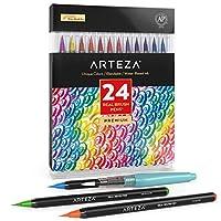 Artezaリアル筆ペン、水彩画用24色。初心者からアーティストまで、誰にでも使いやすいソフトなナイロン毛を使用した、塗り絵、書道、ドローイング用水筆ペイントマーカー