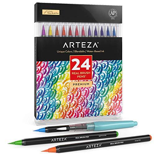 ARTEZA Caja de 24 rotuladores con punta de pincel | Rotuladores acuarelables profesionales para dibujar y colorear | 100% no tóxicos | Múltiples colores | Puntas flexibles