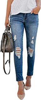 Womens Junior Ripped Jeans Skinny Distressed Boyfriend Mid Rise Faded Slim Fit Stretch Trendy Pants