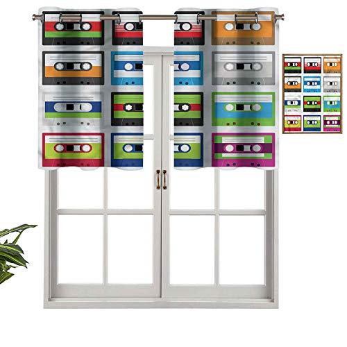 Hiiiman Cortinas cortas con ojales en la parte superior, elegantes, collage de cassette, juego de 2, 106,7 x 91,4 cm, decoración para baño/dormitorio/sala de estar