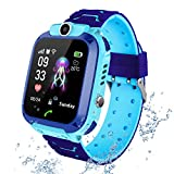 Kids Smart Watch Phone per Bambini IP67 Impermeabile, Orologio Smart Phone LBS Anti-perso con Chat Vocale, Sveglia SOS per il Gioco di Matematica Studente Smart watch, Regalo Ragazzo e Ragazza (blu)