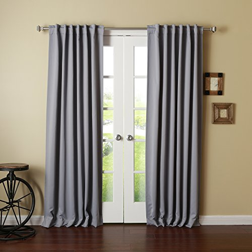 """Best Home Fashion Thermal Insulated Blackout Curtains - Back Tab/ Rod Pocket - Grey - 52"""" W x 102"""" L - (Set of 2 Panels)"""