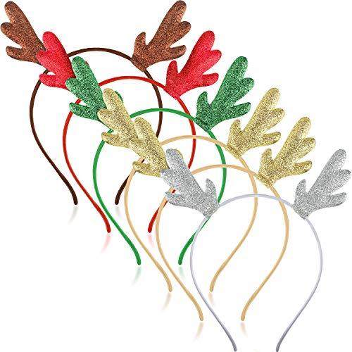 6 Piezas Diademas de Astas de Purpurina de Navidad Diademas de Forma de Reno Ciervo para Suministros de Disfraz de Trajes de Fiesta de Vacación (5 Colores)