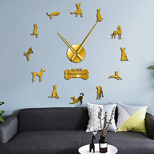 Ibizan Hound Large Wall Clock Spain Dog Breed Ibicenco Dog Pets Modern Wall Clocks Home Decor DIY Wall Art Wall Stickers(Oro,47inch) Vinilo Record Wall Clock Gift Ideas Sorpresa
