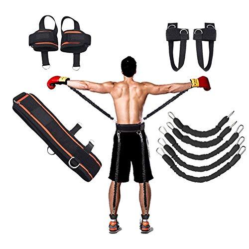 YNXing Krafttraining Seil für Boxen, Basketball, Fechten Ausbildung Widerstand Seil Blau Stretch Cord Zugseil Fitnessgeräte (Schwarz)