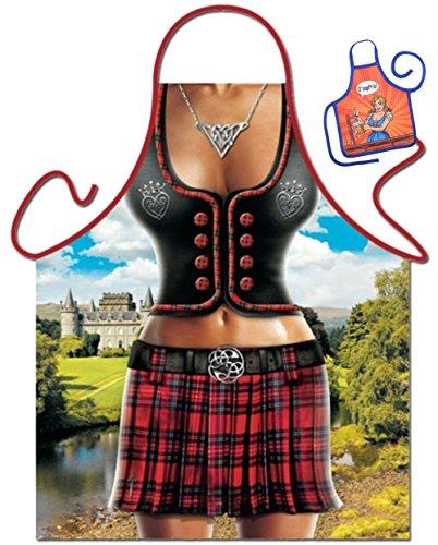 Scottish Woman – Tablier humoristique Fun Party et mini pour à la bouteille