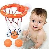 HENGBIRD Set de baño para niños, juguete de baño con 3 pelotas de baloncesto, tabla de baloncesto y fuertes ventosas, minicanasta de baloncesto para niños y niñas