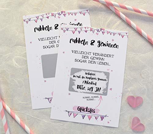 Rubbelkarte für Taufpatin fragen, Karte mit Rubbelfeld, Willst du Patentante sein, neutral, rosa