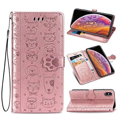 Oihxse Billetera Cuero Funda Compatible con iPhone 6 Plus/6S Plus PU Libro Tapa Flip Soporte Plegable Protector Magnético Carcasa Gato Perro Lindo Animal Diseño Wallet Case-Oro Rosa