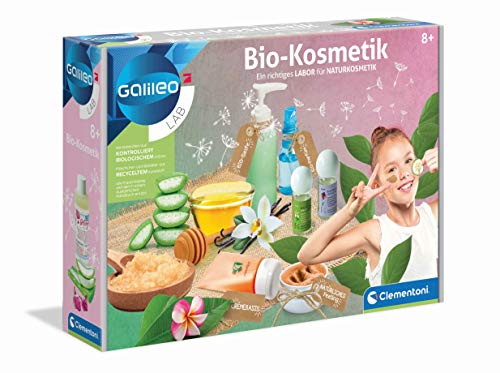 Clementoni 59188 Galileo Science - Bio-Kosmetik, Herstellung von biologischer Schönheitspflege, Shampoo, Cremes, Seifen & Peelings selbermachen, Spielzeug für Kinder ab 8 Jahren