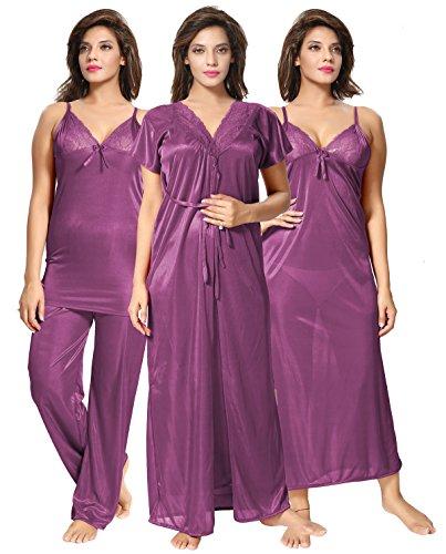 Lovira Purple Solid Women 4 Pieces Nightwear Set/Nighty with Robe...