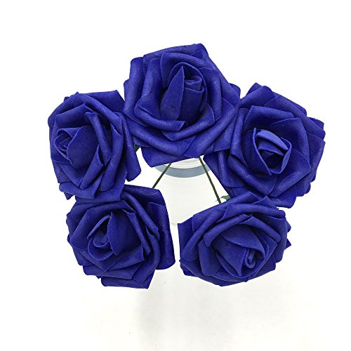 50 pcs Dark Blue Fake Wedding Flowers Cobalt Blue Foam Rose for DIY Wedding Bouquets Table Centerpieces
