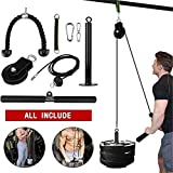 9PC Strength Fitness Lifting Pulley System, Cable Machine with Upgraded Loading Pin for Triceps Pull Down, Biceps Curl, Back, Forearm Arm, Shoulder-Home Gym Exercises Equipment Indoor and Outdoor