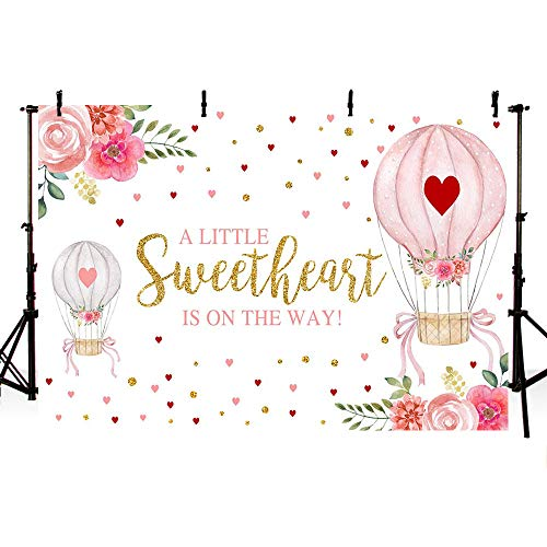 MEHOFOND Sweetheart Baby Shower Party Decorations Backdrop Up Up and Away Hot Air Balloon Pink Red Floral Gold Hearts Valentine Girl Baby Shower Photography Background Photo Banner 7x5ft