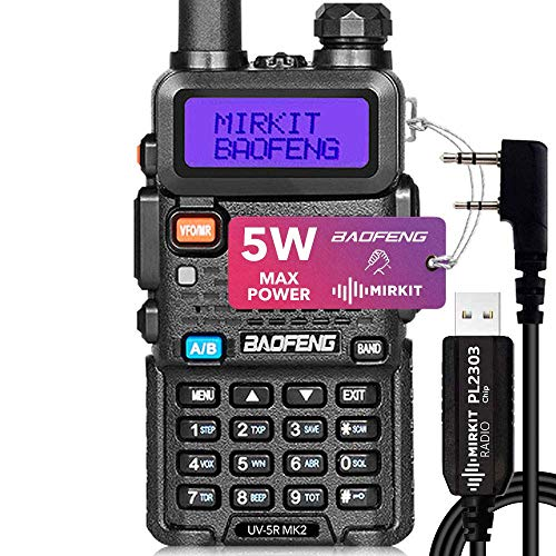 Baofeng UV-5R MK2 2020 Handheld Dual Band Ham Radio, Mirkit Edition USA Warranty + Software