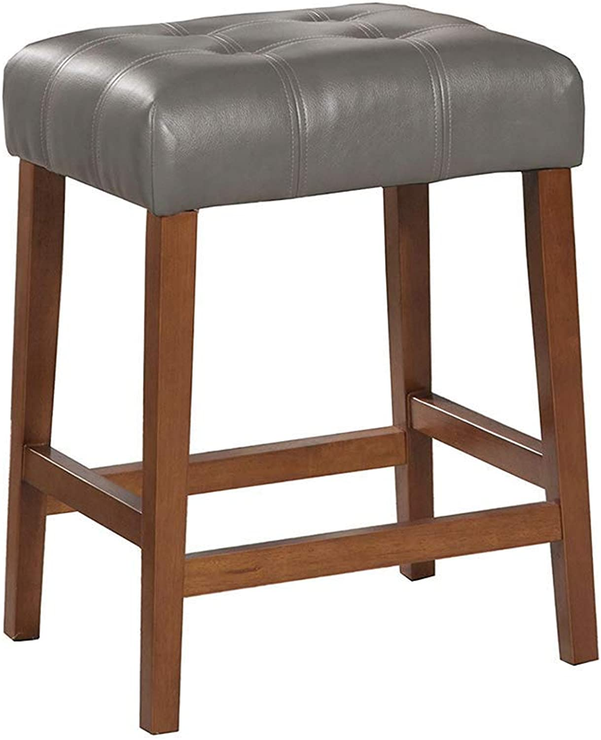 HomePop Leatherette Square Tufted Backless Counter Height Stool, 24-inch, Charcoal Grey