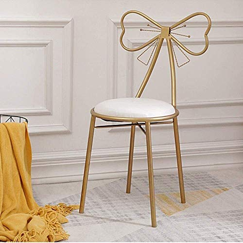 JUIO` Soft PU Leather Chairs With With Back Metal Makeup Footstool Household Adults Dining Clothing Store Change Shoe Bench Stool For Living Room Bedroom Cafe Vanity (Color : Gold)