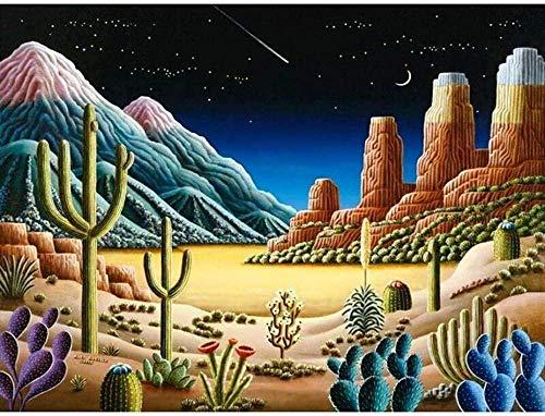 Kit de herramientas de pintura de diamantes para adultos Cactus Caja de herramientas de numeración de diamantes completa Imagen de punto de cruz Pintura de diamante Decoración de la pared del hogar