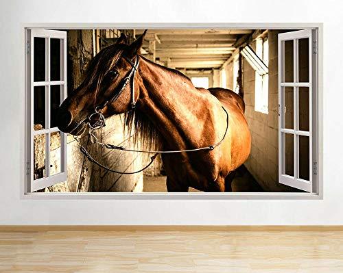 Wandtattoo Brown Window Horse Farm Animal Stall Aufkleber 3D Vinyl Kinderzimmer