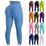 XZTZ Push Up Leggings para Mujer, Pantalones Cintura Alta Yoga Leggings, Panal Arrugado para Nalgas de Los Mujeres Leggings, Transpirables Deportivos de Fitness Pilates Leggins (Negra, S)
