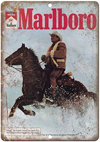 Marlboro Man Tobacco Cigarette Cowboy Targa in Metallo Vintage Ferro Battuto Decorazione Scudo Avvertimento Cartello Placca per Bar Cafe Office Film Compleanno Nozze