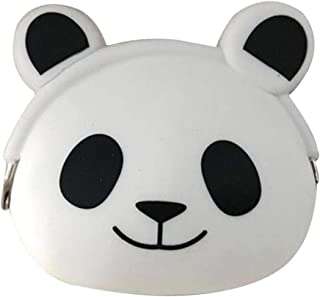 KOMTO Cartoon Animal Silicone Jelly Coin Purse Mini Wallet Sunward Female Purse Soft Fastener Bag Case (Panda)
