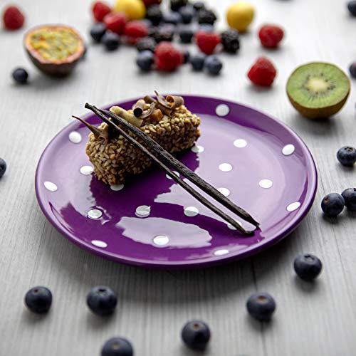 City to Cottage | Assiette à dessert | Violette à pois blancs en céramique faite et peinte à la main | 20cm
