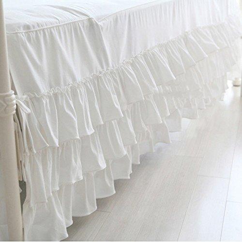 hxxkact Weiß DREI-Schicht Bettvolant, Queen-King Tagesdecke Bettüberwurf Dekoration-Weiß 180x200cm(71x79inch)