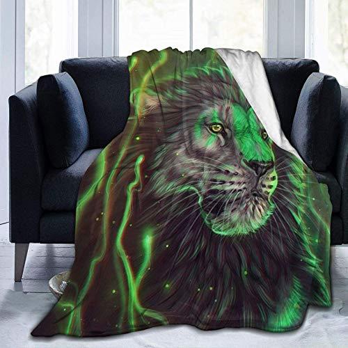 Manta De La Siesta Felpa Sofás Franela Rey León Verde Fresco Buen sueño L127cm x W102cm
