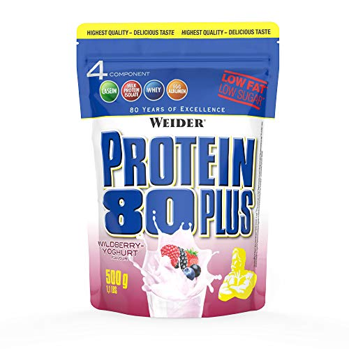 WEIDER Protein 80 Plus Eiweißpulver, Waldfrucht-Joghurt, Low-Carb, Mehrkomponenten Casein Whey Mix für Proteinshakes, 500g